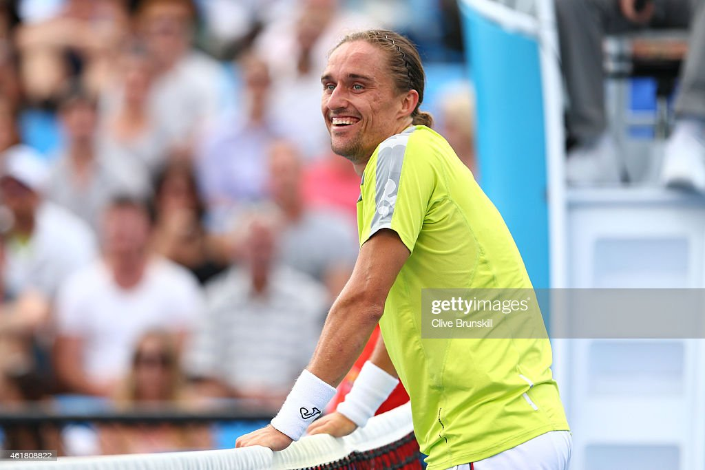 Alexandr Dolgopolov of the Ukraine celebrates winning his first round match against Paolo Lorenzi of Italy during day two of the 2015 Australian Open...