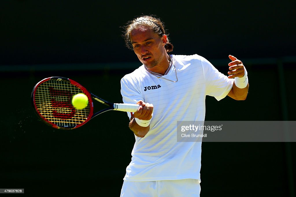 Alexandr Dolgopolov of the Ukraine in action in his Gentlemen's Singles first round match against Kyle Edmund of Great Britain during day two of the...
