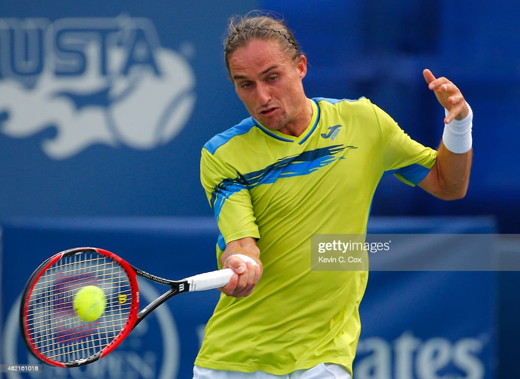 Alexandr Dolgopolov of the Ukraine returns a forehand to Go Soeda of Japan during the BBT Atlanta Open at Atlantic Station on July 27 2015 in Atlanta...