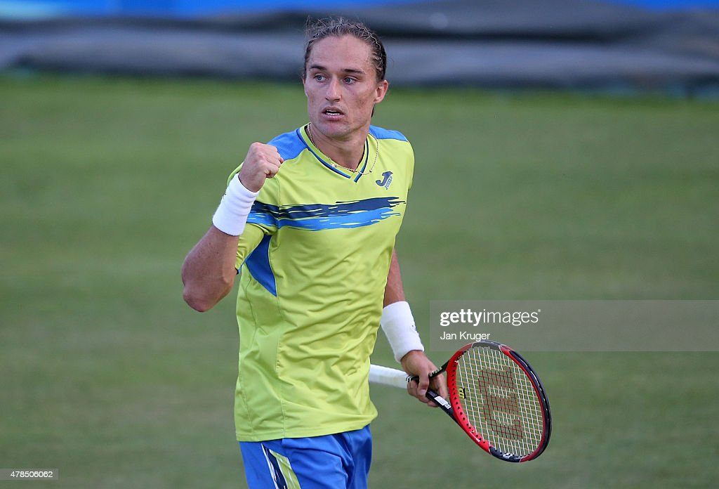 Alexandr Dolgopolov of Ukraine celebrates match point against YenHsun Lu of Chinese Taipei during their quarter final match on day five of the Aegon...