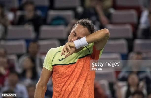 Alexandr Dolgopolov of Ukraine during his loss against Roger Federer of Switzerland in the Men's singles match on day 5 of 2017 ATP Shanghai Rolex...