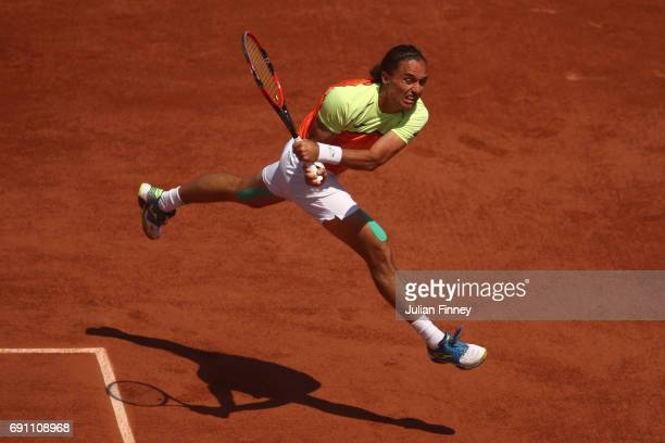 Alexandr Dolgopolov of Ukraine hits a backhand during the men's singles second round match against Stan Wawrinka of Switzerland on day five of the...