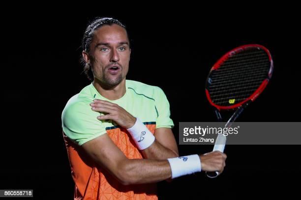 Alexandr Dolgopolov of Ukraine looks on before during the Men's singles mach third round against Roger Federer of Switzerland on day five of 2017 ATP...