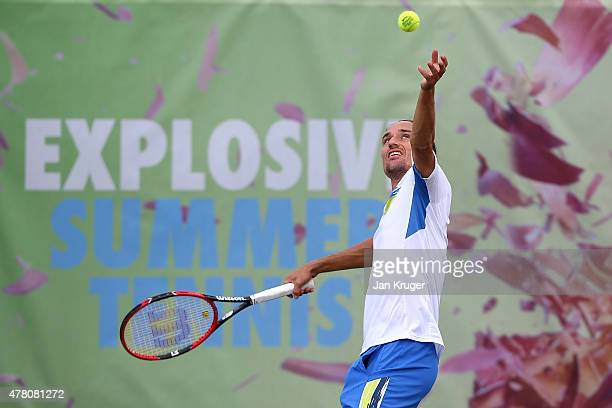 Alexandr Dolgopolov of Ukraine practices on day two of the Aegon Open Nottingham at Nottingham Tennis Centre on June 22 2015 in Nottingham England