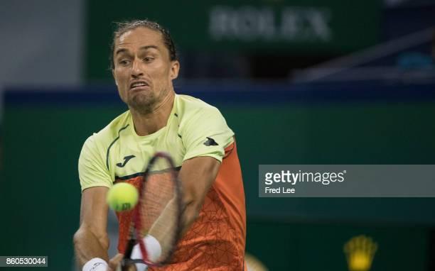 Alexandr Dolgopolov of Ukraine returns a shot during his loss against Roger Federer of Switzerland in the Men's singles match on day 5 of 2017 ATP...