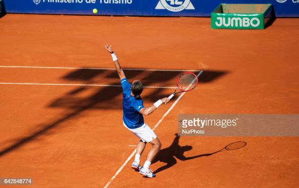 Alexandr Dolgopolov of Ukraine returns the ball to Gerald Melzer of Austria during a tennis match of the ATP Argentina Open in Buenos Aires Argentina...