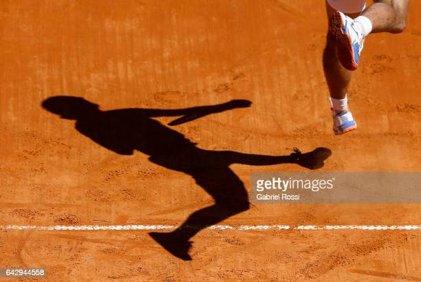 Alexandr Dolgopolov of Ukraine serves during a final match between Kei Nishikori of Japan and Alexandr Dolgopolov of Ukraine as part of ATP Argentina...