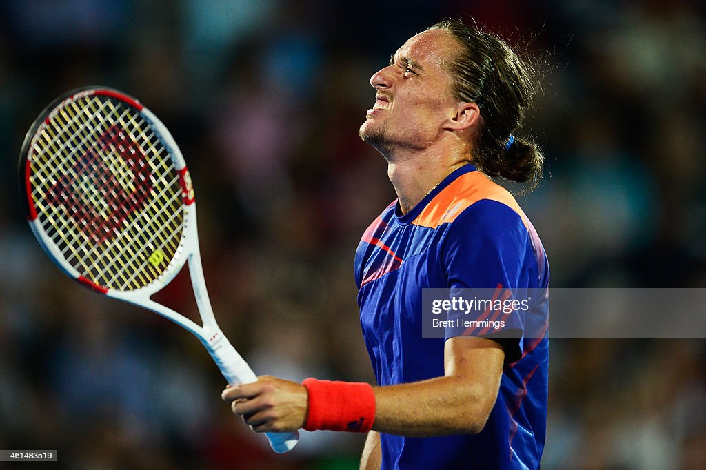 Alexandr Dolgopolov of Ukraine shows his dejection during his quarter final match against Bernard Tomic of Australia during day five of the 2014 Sydney International at Sydney Olympic Park Tennis Centre on January 9, 2014 in Sydney, Australia.