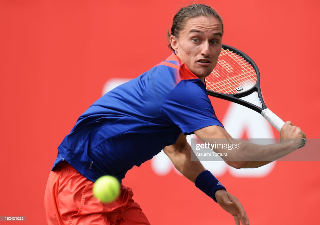 Alexandr Dolgopolov of Ukrine in action during his men's first round match against Daniel Brands of Germany during day one of the Rakuten Open at Ariake Colosseum on September 30, 2013 in Tokyo, Japan.
