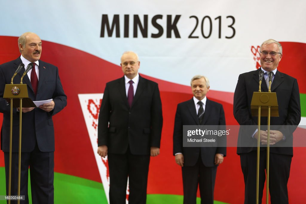 Alexandr Lukashenko (L) President of Belarus alongside <a gi-track='captionPersonalityLinkClicked' href=/galleries/search?phrase=Pat+McQuaid&family=editorial&specificpeople=873831 ng-click='$event.stopPropagation()'>Pat McQuaid</a> (R) President of the Union Cycliste Internationale during the opening ceremony on day one of the UCI Track World Championships at Minsk Arena on February 20, 2013 in Minsk, Belarus.