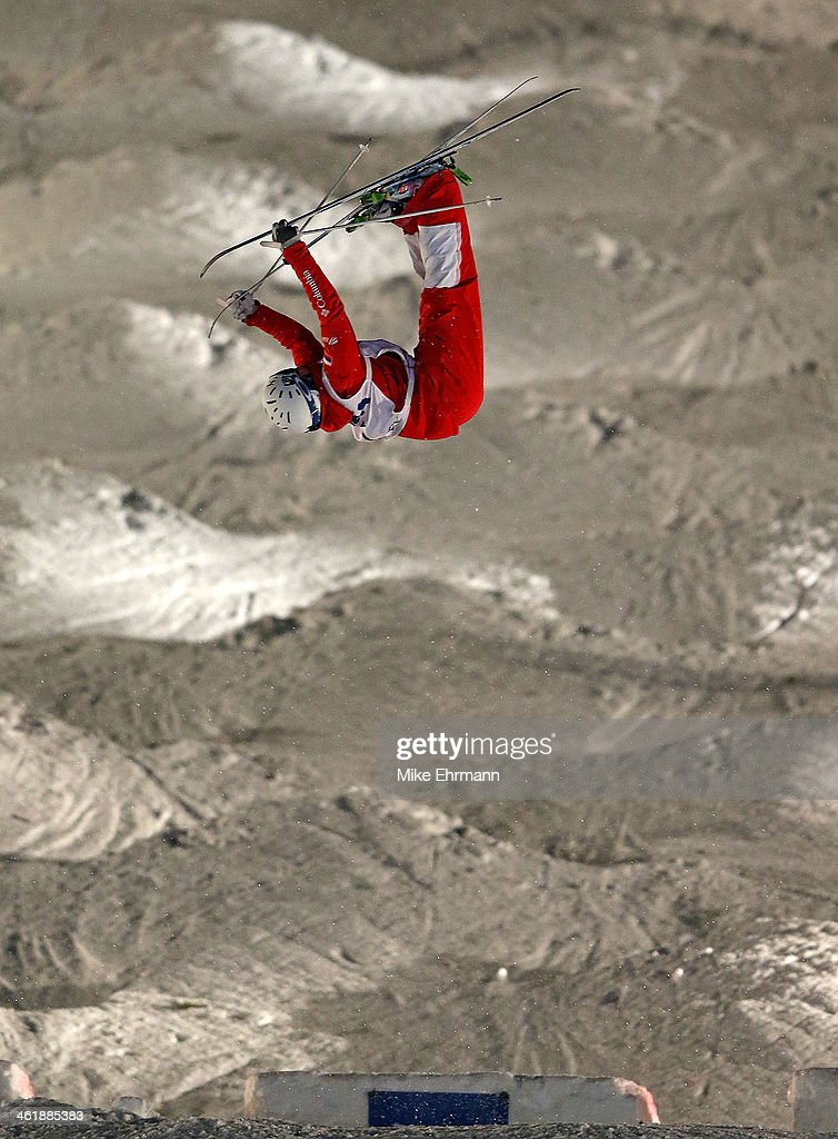 Alexandr Smyshlyaev of Russia competes during finals for the Mens 2014 FIS Freestyle Ski World Cup Mogul Competition at Deer Valley on January 11, 2014 in Park City, Utah.