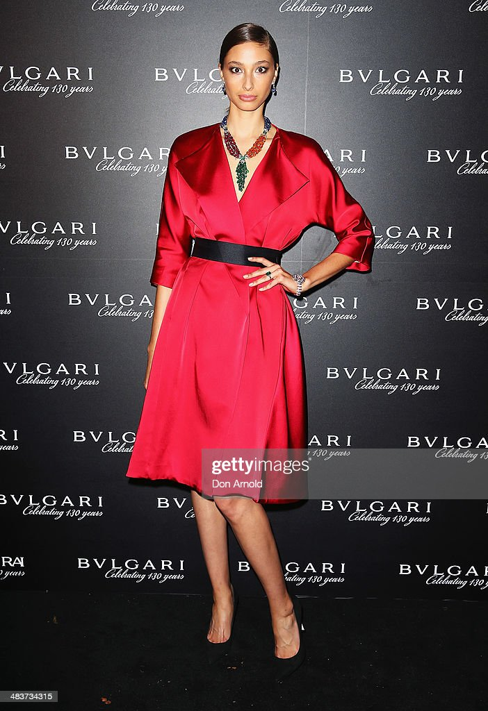 Alexandra Agoston poses at the 130th Anniversary of Bvlgari Gala Dinner at a private residence in Darling Point on April 10, 2014 in Sydney, Australia.
