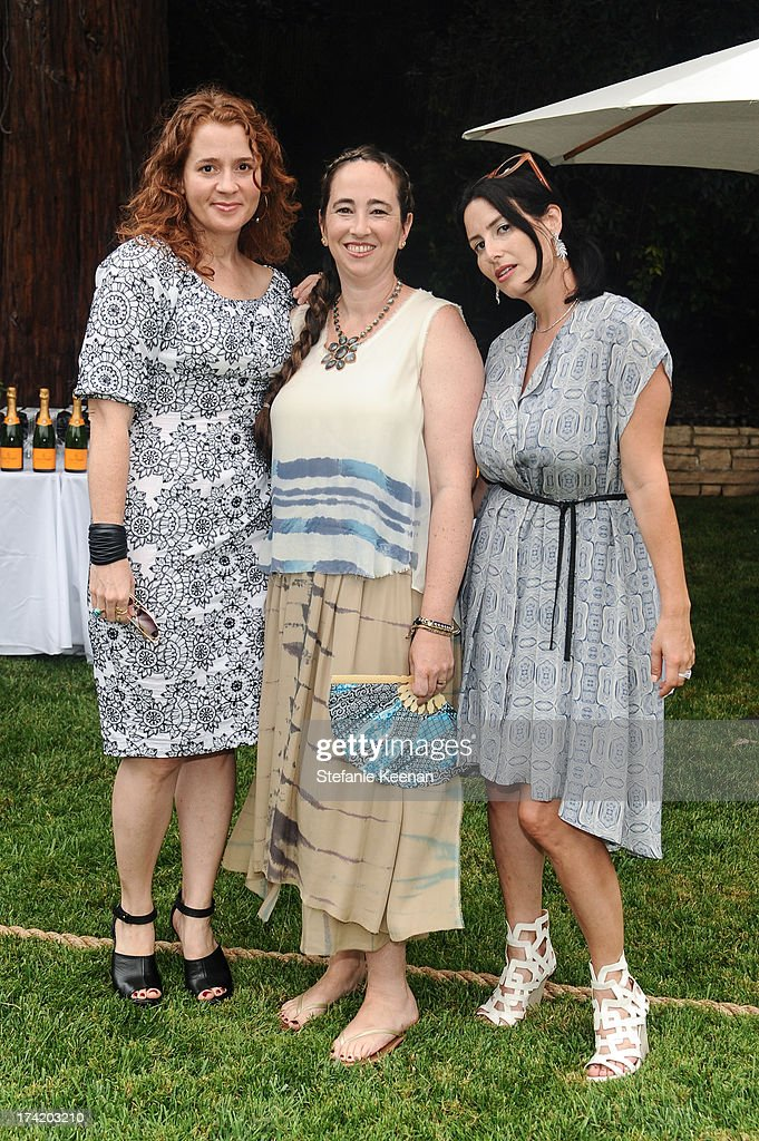 Alexandra Balahoutis, Rebecca Bloom and Lauri Firstenberg attend LAXART 2013 Garden Party on July 21, 2013 in Los Angeles, California.