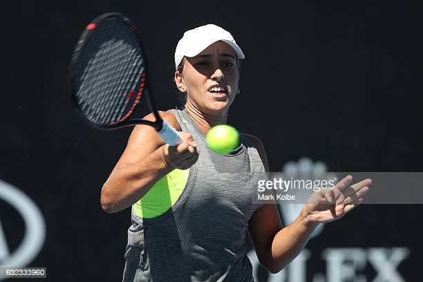 Alexandra Bozovic of Australia plays a shot against Anri Nagata of Japan during the Australian Open 2017 Junior Championships at Melbourne Park on...