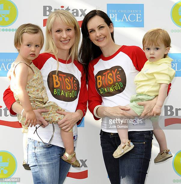 Alexandra Buckley Voris holding daughter Meriwether and Maggie Jones Patton holding son Spencer Founders of Bitsy's Brainfood attend the 2012 Baby...