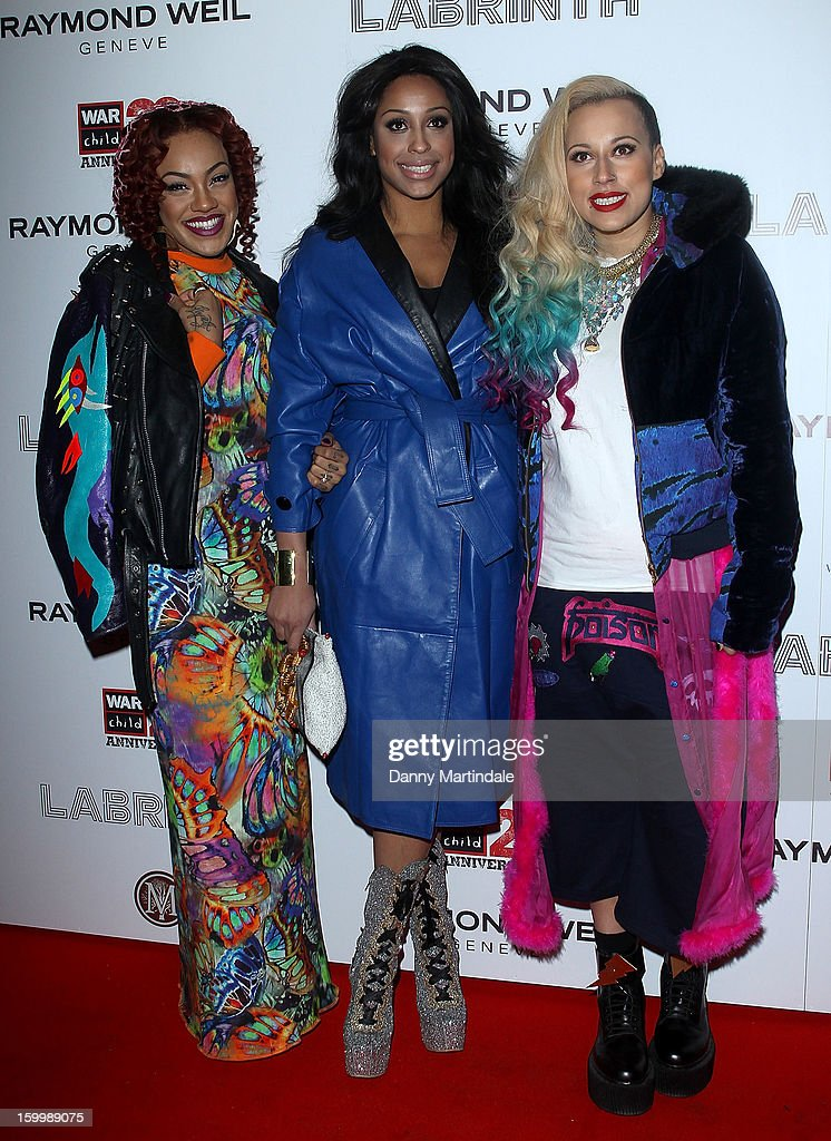 Alexandra Buggs, Karis Anderson and Courtney Rumbold from the band Stooshe attends the Raymond Weil pre-Brit Awards dinner and 20th anniversary celebration of War Child at The Mosaica on January 24, 2013 in London, England.
