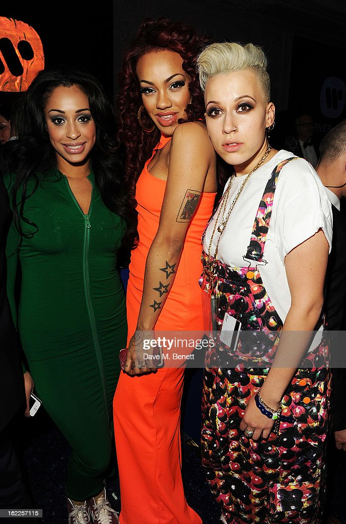 Alexandra Buggs, Karis Anderson and Courtney Rumbold of Stooshe attends the Warner Music Group Post BRIT Party In Association With Samsung at The Savoy Hotel on February 20, 2013 in London, England.