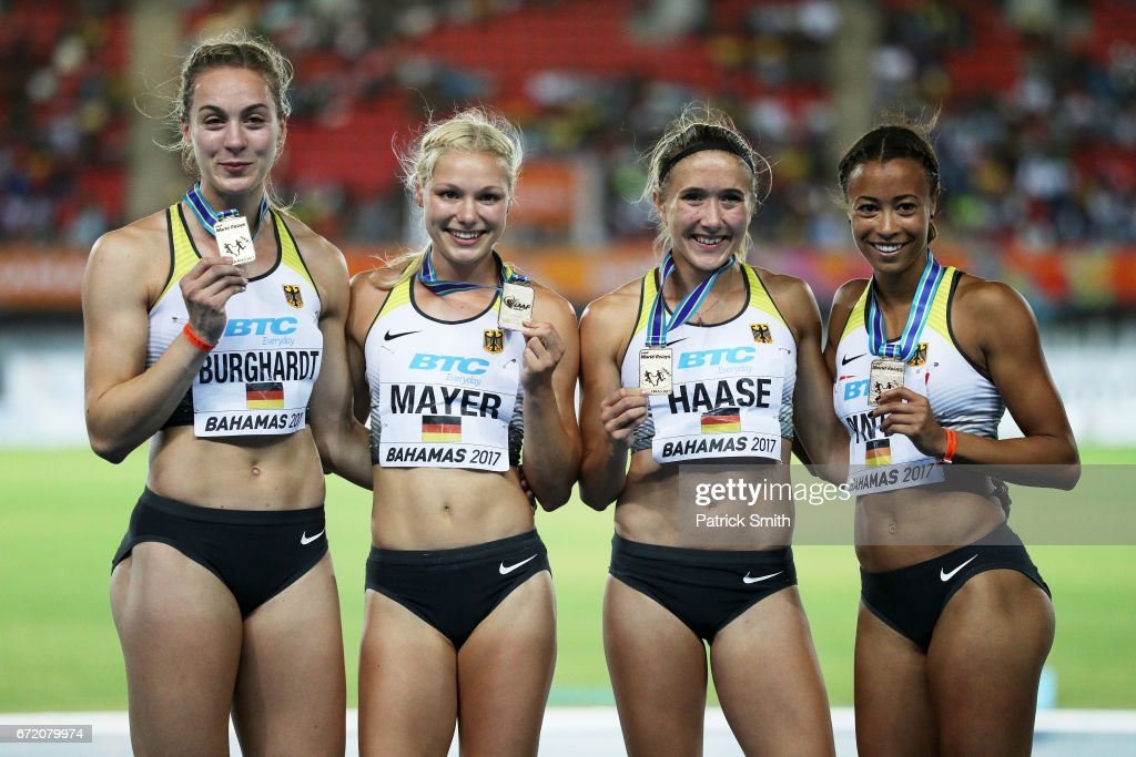 Alexandra Burghardt, Lisa Mayer, Rebekka Haase and Tatjana Pinto of Germany celebrate on the podium after placing first in the Women's 4x100 Metres Relay Final during the IAAF/BTC World Relays Bahamas 2017 at Thomas Robinson Stadium on April 23, 2017 in Nassau, Bahamas.