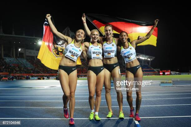 Alexandra Burghardt Lisa Mayer Rebekka Haase and Tatjana Pinto of Germany celebrate after placing first in the Women's 4x100 Metres Relay Final...