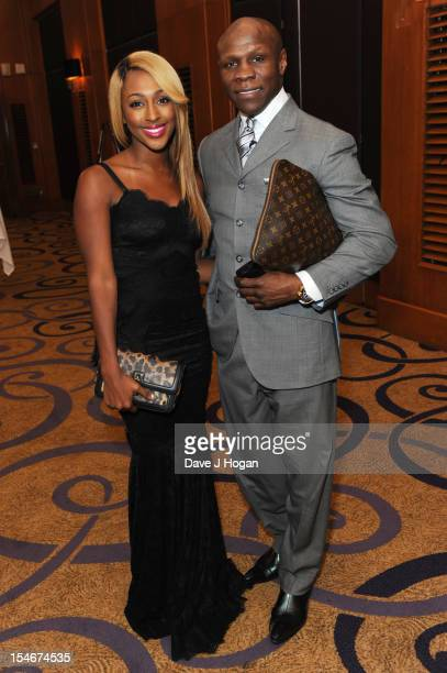 Alexandra Burke and Chris Eubank attend a Nordoff Robbins Boxing fundraising dinner at The Grand Connaught Rooms on October 24 2012 in London England