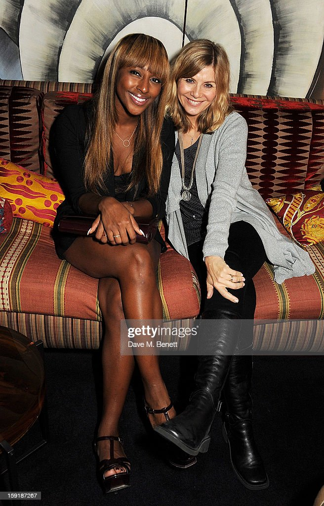 Alexandra Burke (L) and Glynis Barber attend a private dinner hosted by Tom Ford to celebrate his runway show during London Collections: MEN AW13 at Loulou's on January 9, 2013 in London, England.