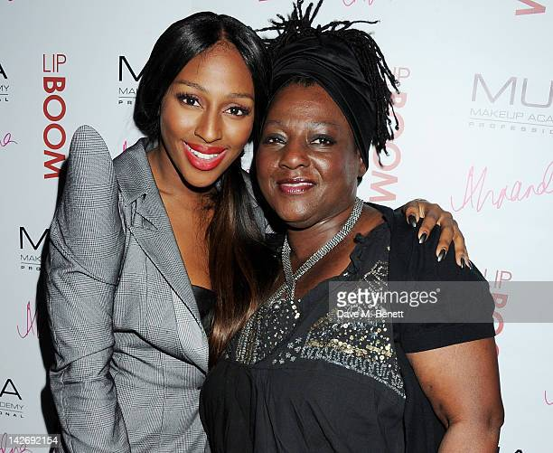 Alexandra Burke and mother Melissa Bell attend the launch of LIPBOOM created with Alexandra Burke by MUA Cosmetics at The Rose Club on April 11 2012...