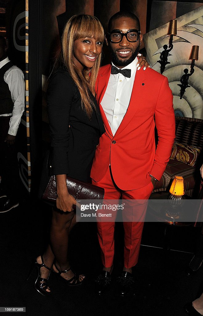 Alexandra Burke (L) and Tinie Tempah attend a private dinner hosted by Tom Ford to celebrate his runway show during London Collections: MEN AW13 at Loulou's on January 9, 2013 in London, England.