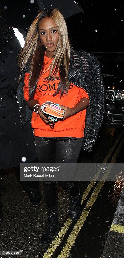 Alexandra Burke at Aura night club on January 18, 2013 in London, England.