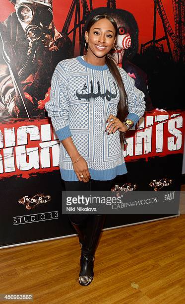 Alexandra Burke attends Friday Night VIP Event held in at Thorpe Park on October 9 2014 in Chertsey England