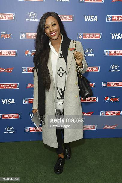 Alexandra Burke attends the annual NFL International Series as the Detroit Lions compete against the Kansas City Chiefs at Wembley Stadium on...