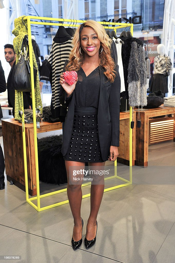 <a gi-track='captionPersonalityLinkClicked' href=/galleries/search?phrase=Alexandra+Burke&family=editorial&specificpeople=5592177 ng-click='$event.stopPropagation()'>Alexandra Burke</a> attends the launch of Donna Karan's Heart for Haiti collection in support of The Urban Zen Artisan project at DKNY Store on November 14, 2012 in London, England.
