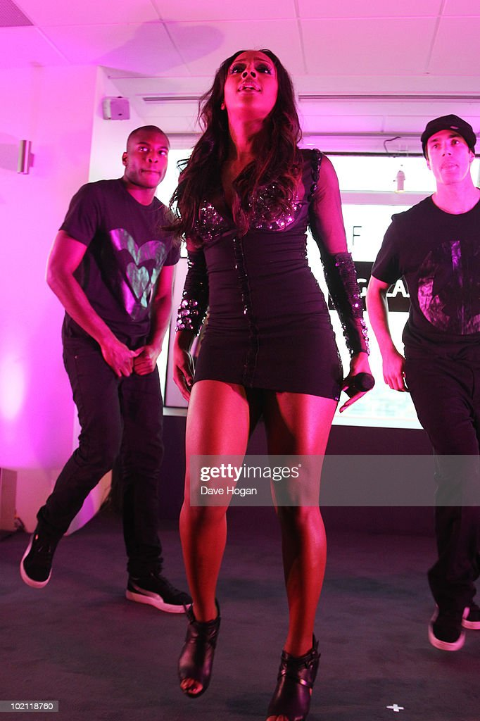 Alexandra Burke performs at the launch of the Samsung Galaxy S Smartphone held at Altitude Bar on June 15, 2010 in London, England.