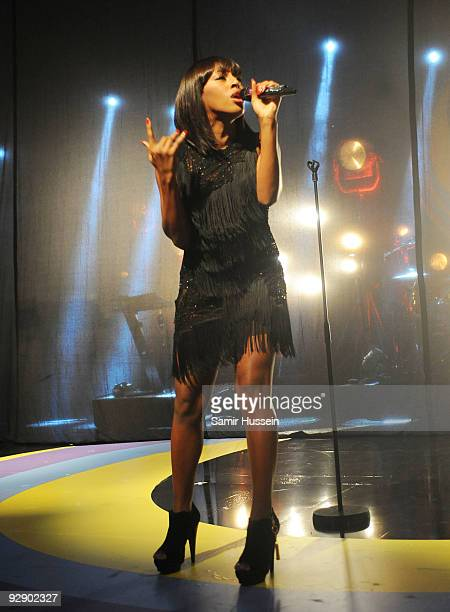 Alexandra Burke performs during BBC Switch Live at the Carling Hammersmith Apollo on November 8 2009 in London England