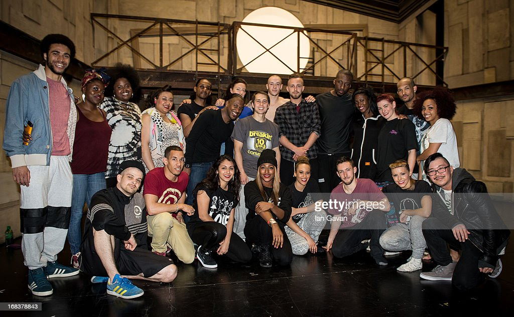 Alexandra Burke (front row, C) poses with the cast of 'Some Like It Hip Hop' on stage at the Peacock Theatre on May 8, 2013 in London, England.