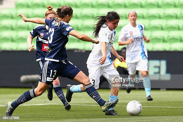 Alexandra Chidiac of Melbourne City controls the ball during the round two WLeague match between Melbourne City FC and Melbourne Victory at AAMI Park...