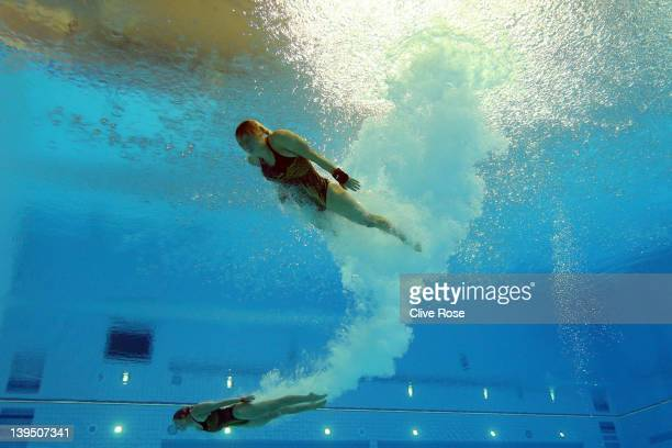 Alexandra Croak and Melissa Wu of Australia in action during the Women's synchronised 10m platform preliminary at the London Aquatics Centre on...
