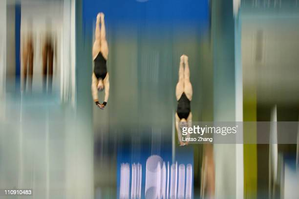 Alexandra Croak and Melissa Wu of Australia in the Women's 10m platform Synchro Final during the FINA Diving World Series at the Beijing National...