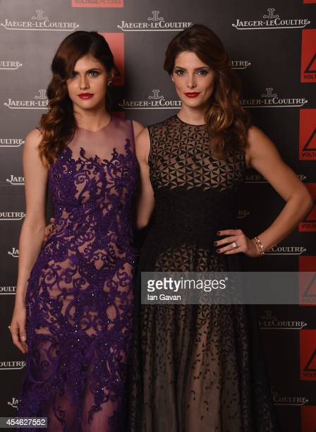 Alexandra Daddario and Ashley Greene of 'Burying the Ex' pose for a portrait for JaegerLeCoultre in their festival lounge during the 71st Venice Film...