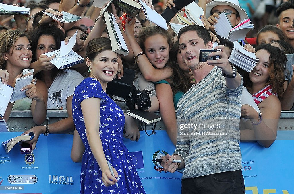 <a gi-track='captionPersonalityLinkClicked' href=/galleries/search?phrase=Alexandra+Daddario&family=editorial&specificpeople=5679721 ng-click='$event.stopPropagation()'>Alexandra Daddario</a> and <a gi-track='captionPersonalityLinkClicked' href=/galleries/search?phrase=Logan+Lerman&family=editorial&specificpeople=635439 ng-click='$event.stopPropagation()'>Logan Lerman</a> attend 2013 Giffoni Film Festival blue carpet on July 23, 2013 in Giffoni Valle Piana, Italy.