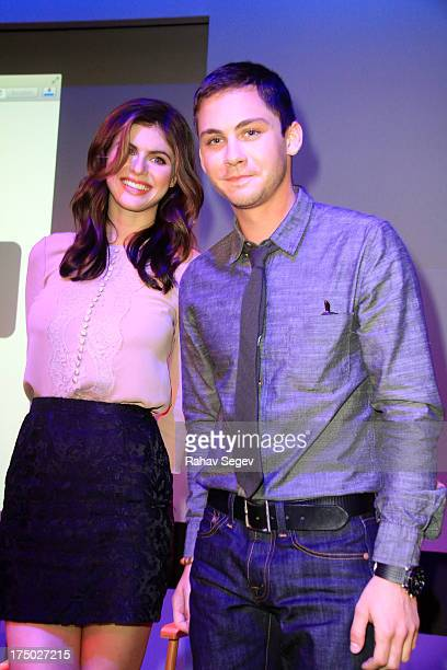 Alexandra Daddario and Logan Lerman attend Meet The Filmmakers 'Percy Jackson Sea Of Monsters' at the Apple Store Soho on July 29 2013 in New York...