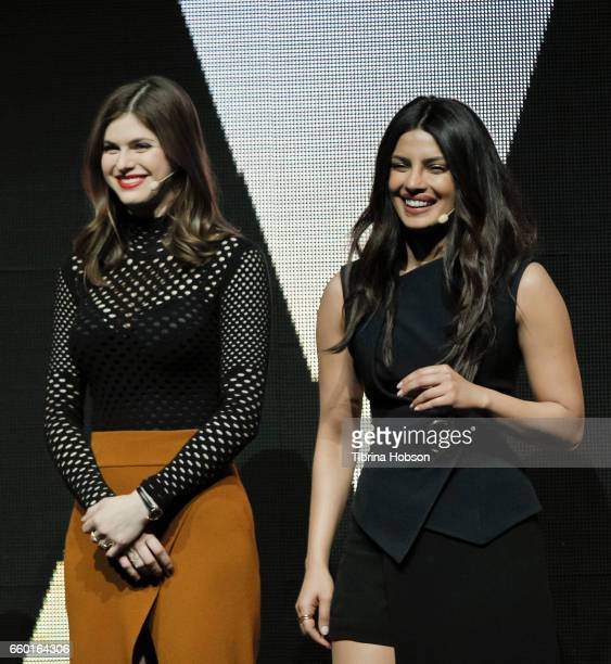 Alexandra Daddario and Priyanka Chopra speak at Paramount Pictures' presentation highlighting its 2017 summer and beyond during CinemaCon at The...