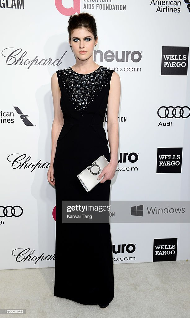 Alexandra Daddario arrives for the 22nd Annual Elton John AIDS Foundation's Oscar Viewing Party held at West Hollywood Park on March 2, 2014 in West Hollywood, California.