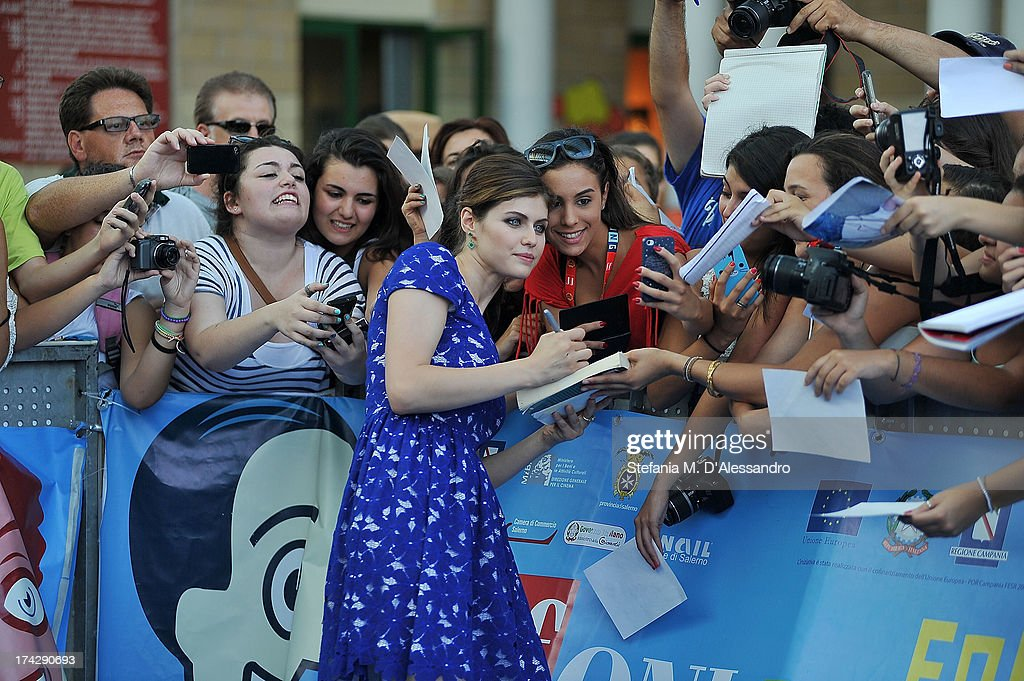 Alexandra Daddario attends 2013 Giffoni Film Festival bllue carpet on July 23, 2013 in Giffoni Valle Piana, Italy.