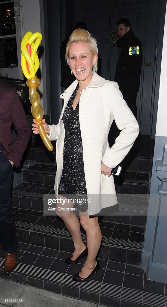 Alexandra Danson sighting leaving No 3 Cromwell Road following Barry the Dog Fitness Trainer reception on March 26, 2013 in London, England.