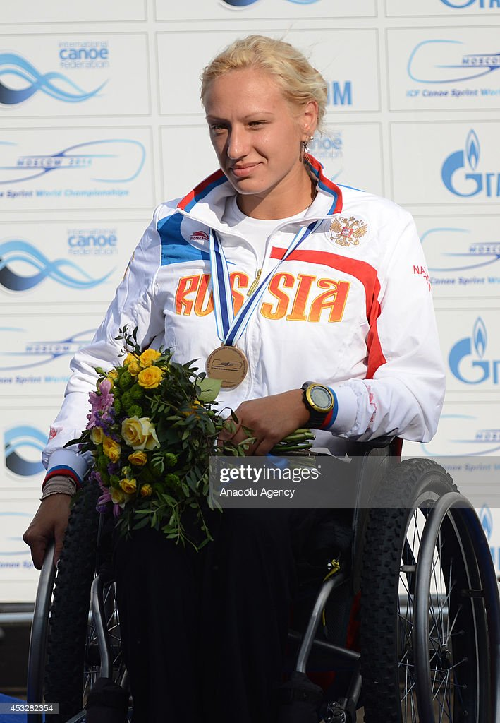 Alexandra Dupik of Russia poses with her bronze medal during the medal ceremony of the women's K1 (A) 200m final of the 2014 ICF Canoe Sprint World hampionships in Moscow, Russia on August 6, 2014.