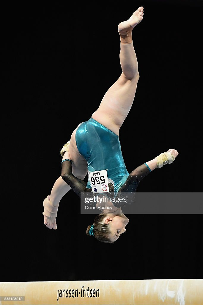 Alexandra Eade of Victoria competes on the beam during the 2016 Australian Gymnastics Championships at Hisense Arena on May 29 2016 in Melbourne...