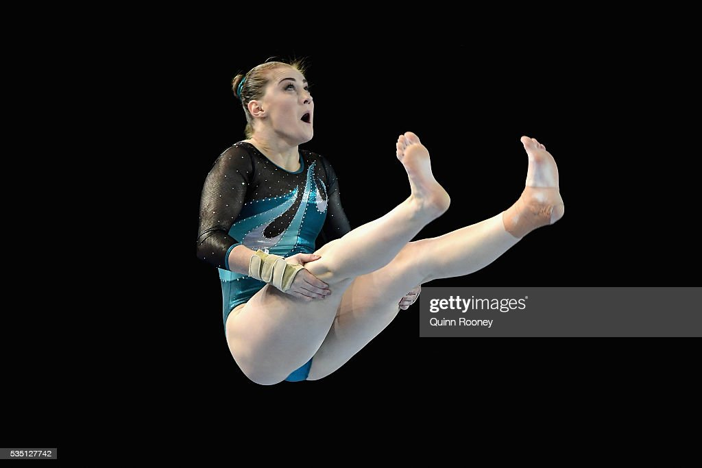 Alexandra Eade of Victoria competes on the floor during the 2016 Australian Gymnastics Championships at Hisense Arena on May 29, 2016 in Melbourne, Australia.