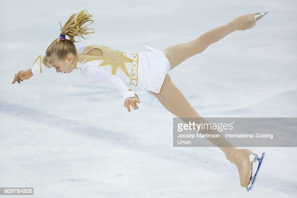 Alexandra Feigin Bulgaria competes during the Junior Ladies Short Program on day one of the ISU Junior Grand Prix of Figure Skating on September 22...