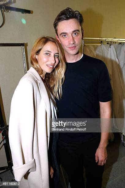Alexandra Golovanoff and Fashion designer Guillaume Henry pose after the Nina Ricci show as part of the Paris Fashion Week Womenswear Spring/Summer...