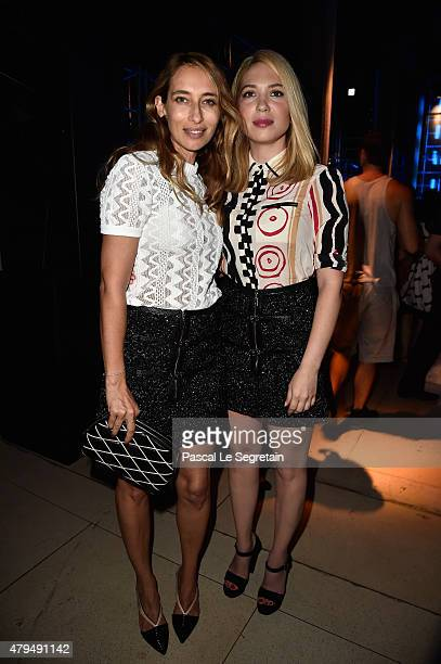 Alexandra Golovanoff and guest attend the Miu Miu Club launch of the first Miu Miu fragrance and croisiere 2016 collection at Palais d'Iena on July 4...
